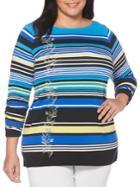 Rafaella Plus Embroidered Striped Top