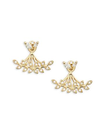 Tai Crystal Leaf Earring Jacket Earrings