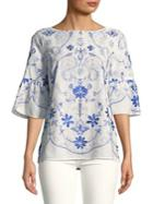 Ivanka Trump Embroidered Cotton Blouse