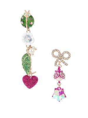 Betsey Johnson Fruit Flies Crystal Lady Bug And Flower Mismatch Drop Earrings