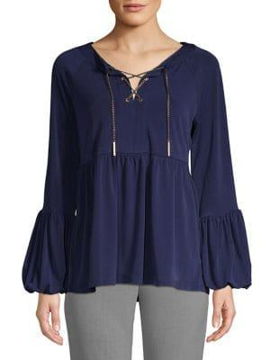Michael Michael Kors Lace-up Puff Sleeve Top
