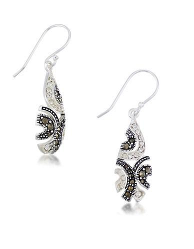 Lord & Taylor Marcasite, Crystal And Sterling Silver Drop Earrings