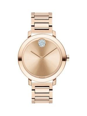 Movado Bold Stainless Steel & Crystal Bracelet Watch