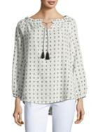 Ivanka Trump Printed Cotton Blouse