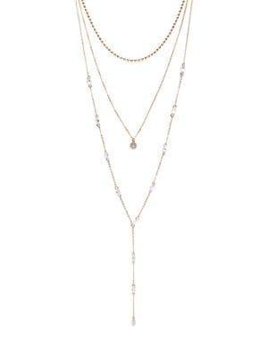 Design Lab Goldtone And Glass Stone Triple-strand Necklace