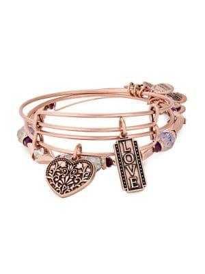Alex And Ani Rose Goldtone Three-piece Bracelet Set