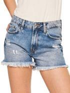 Mango Iconic Frayed Denim Shorts