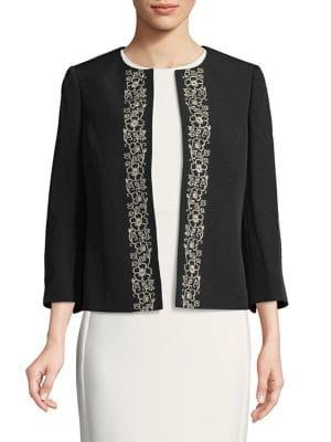Nipon Boutique Embroidered Open Jacket