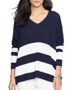 Lauren Ralph Lauren Draped Striped Cotton Sweater