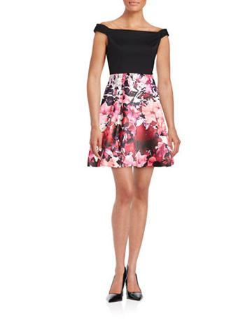 Adrianna Papell Floral Off-the-shoulder Dress