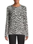 Lord & Taylor Petite Leopard-print Merino Wool Sweater