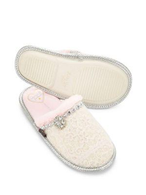 Pretty You London Opal Faux Fur Accented Mule Slippers