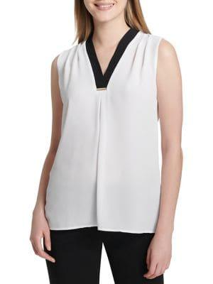 Calvin Klein Petite V-neck Sleeveless Top