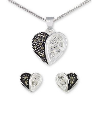 Lord & Taylor Sterling Silver Heart Necklace And Earrings Set