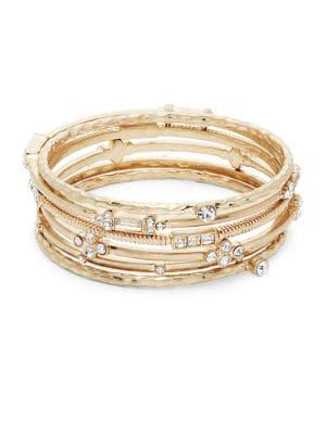 Design Lab Goldtone And Crystal Bangle Set
