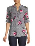 Ivanka Trump Roll-tab Printed Blouse