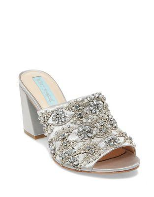 Blue By Betsey Johnson Embellished Satin Mules