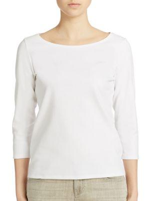 Eileen Fisher Ballet-neck Organic Cotton Tee