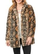 Democracy Snakeskin Printed Faux-fur Coat