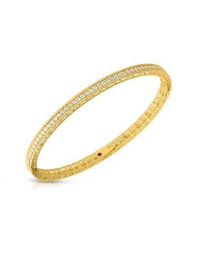 Roberto Coin Symphony Diamonds And 18k Yellow Gold Princess Bangle