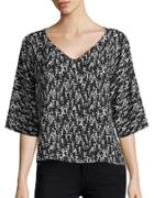 Paper Crown Gianna Three Quarter Sleeve V-neck Blouse