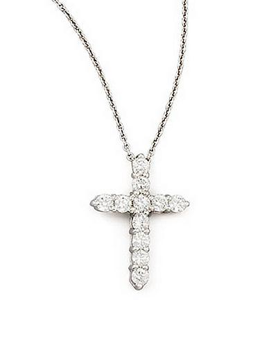 Roberto Coin Diamond And 18k White Gold Cross Pendant Necklace