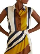 Mango Printed Striped Satin Blouse