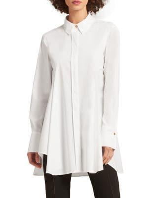 Dkny Flared High-low Button-down Shirt