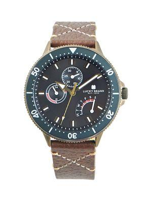 Lucky Brand Dillon Cross Stitch Stainless Steel & Leather-strap Watch