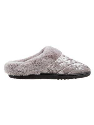 Isotoner Women's Boxed Quilted Faux Fur Velour Hoodback Slippers
