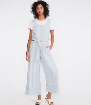 Lou & Grey Crosshatch Softstretch Linen Jumpsuit
