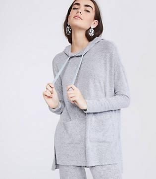 Lou & Grey Brushmarl Pocket Hoodie Top