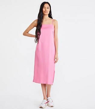 Lou & Grey Fluid Twill Midi Slip Dress