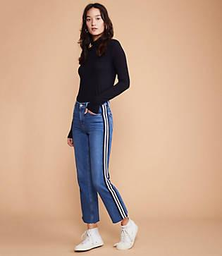 Lou & Grey Side Stripe Straight Leg Jeans