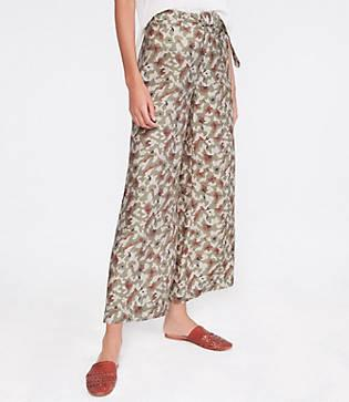Lou & Grey Camo Belted High Rise Wide Leg Pants