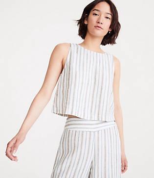 Lou & Grey Stripe Cropped Linen Tank