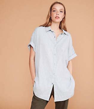 Lou & Grey Crosshatch Softstretch Linen Shirtdress