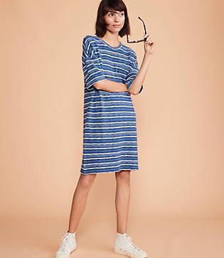 Lou & Grey Crochet Striped Pocket Tee Dress