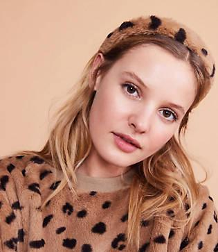 Lou & Grey Leopard Print Faux Fur Headband