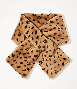 Lou & Grey Leopard Print Faux Fur Scarf