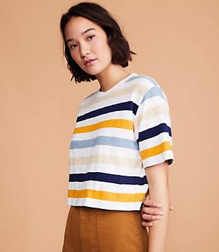 Lou & Grey Striped Cozy Jersey Crop Top