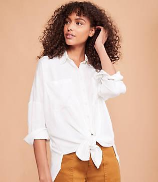 Lou & Grey Fluid Twill Tie Front Shirt