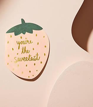 Lou & Grey Red Cap Cards Strawberry You're The Sweetest Card