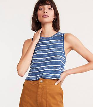 Lou & Grey Crochet Striped Crop Top
