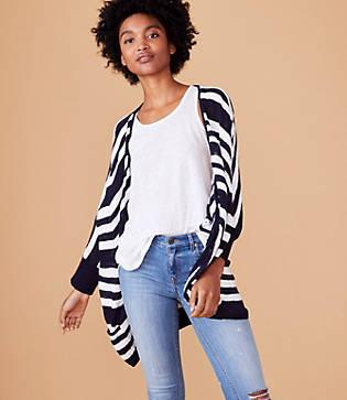 Lou & Grey Striped Open Poncho Sweater