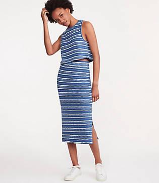 Lou & Grey Crochet Striped Midi Skirt