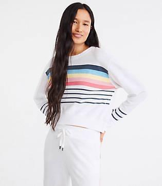 Lou & Grey Sundry Stripes Crop Blouson Sweatshirt