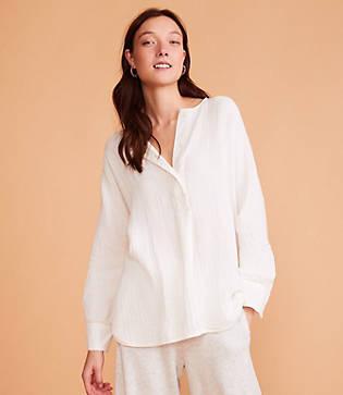 Lou & Grey Textured Gauze Tunic Shirt
