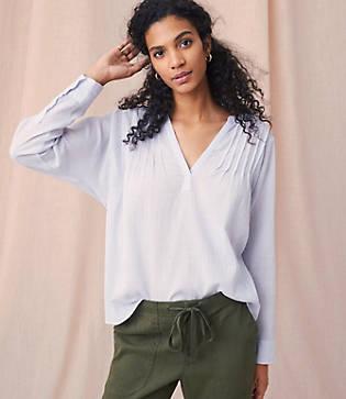 Lou & Grey Garment Dye Pleated Pop On Shirt