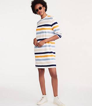 Lou & Grey Striped Cozy Jersey Pocket Tee Dress